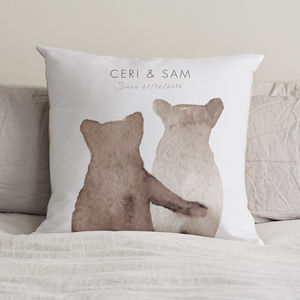 Personalised Bear Love Cushion - personalised wedding gifts