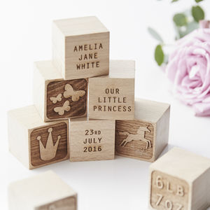 Personalised Princess Keepsake Building Blocks - gifts for babies