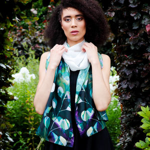 'Midnight Botanica' Botanical Floral Long Silk Scarf - scarves