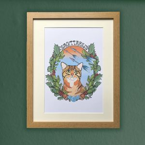 Sagittarius Cat Star Sign Zodiac Print - drawings & illustrations