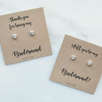 Personalised Bridesmaid Crystal Heart Earrings