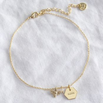 Personalised Gold Bee Charm Anklet