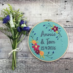 Hand Embroidered Personalised Floral Hoop - mixed media & collage