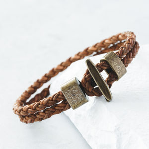 Personalised Men's Leather Bracelet - 3rd anniversary: leather