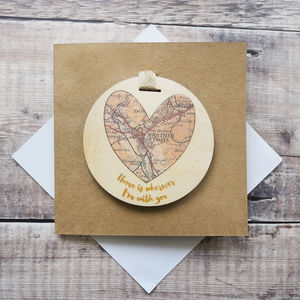 'Home Is Wherever I'm With You' Map Keepsake Card - love & romance cards