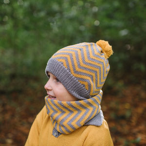 Kids Knitted Chevron Hat And Snood Gift Set - hats, scarves & gloves