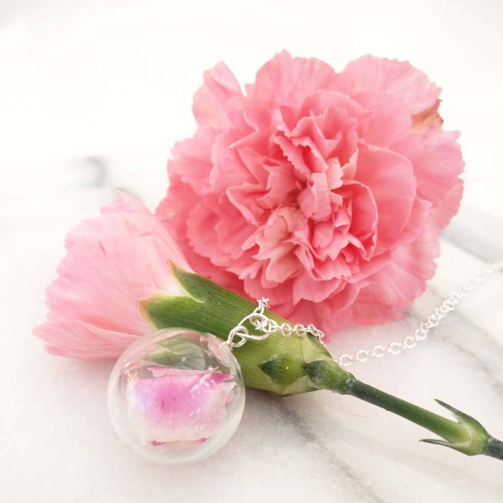 Pink Carnation Flower Petal Necklace By Dinkibelle