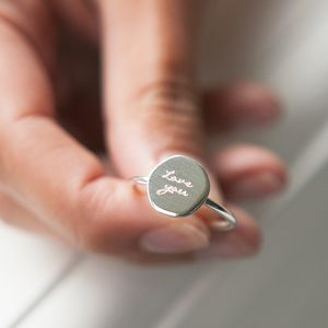 Personalised Silver Organic Circle Ring - friendship jewellery