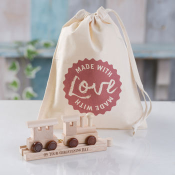 Christening Wooden Train And Track In A Bag