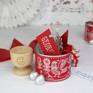 Alternative Red Scandi Design Christmas Cracker Tin