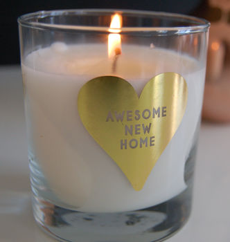 Personalised Gold Heart New Home Candle Present
