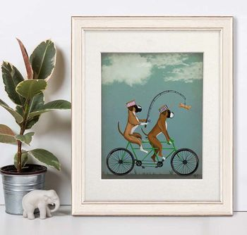 Boxer Dogs On Tandem, Art Print