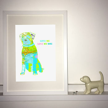 Personalised Border Terrier Map Dog Print