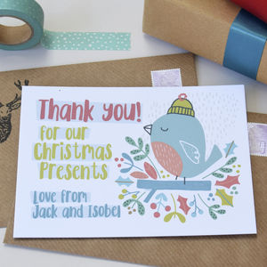 12 Personalised Christmas Robin Thank You Cards