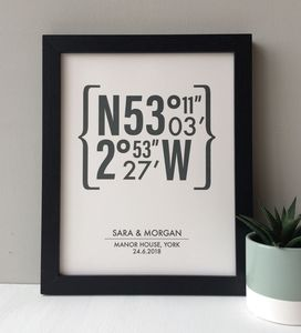 Personalised Coordinates Wedding Print