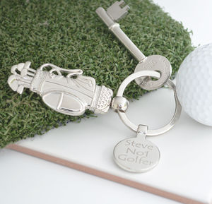 Personalised Golf Clubs Keyring - gifts for golfers