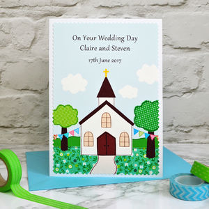 'Church' Personalised Wedding Card