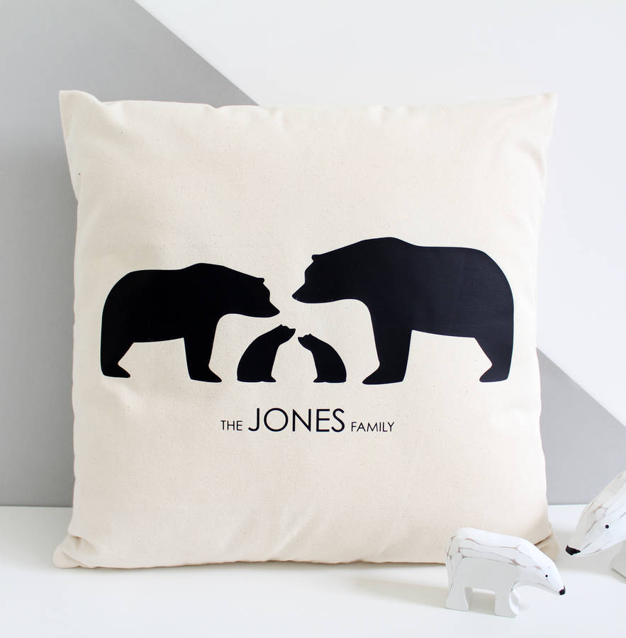 silhouette bear family personalised cushion cover by heather