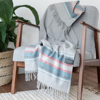 Personalised Recycled Wool Blanket In Light Grey Stripe