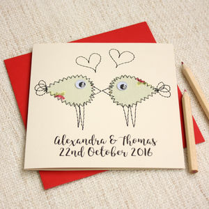 Personalised Embroidered Lovebird Card - wedding cards
