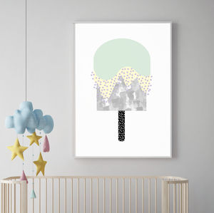 Abstract Minty Ice Lolly Print