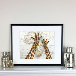 Romantic Giraffes On Map Of Africa - maps & locations