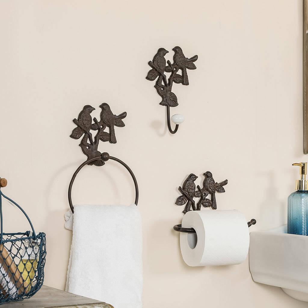 Cast Iron Garden Birds Bathroom Accessories Collection