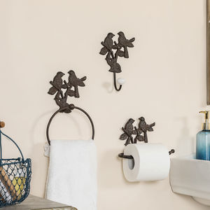 Cast Iron Garden Birds Bathroom Accessories Collection