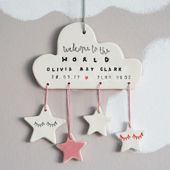 Personalised New Baby Ceramic Cloud Decoration