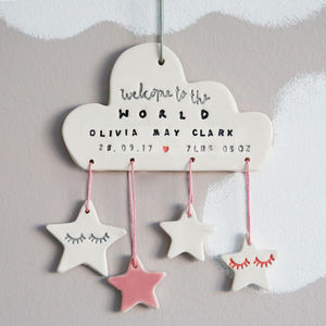Personalised New Baby Ceramic Cloud Decoration - christening gifts