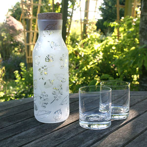 Woodland Frosted Glass And Cork Bottle Decanter