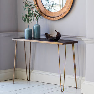 Gold Legged And Tiled Console Table - side tables