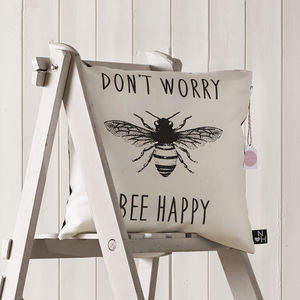 'Don't Worry, Bee Happy' Typographic Cushion - bedroom