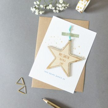Teacher Thank You Card Wooden Star