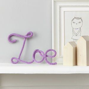 Personalised Purple Sign Knitted Name - decorative letters