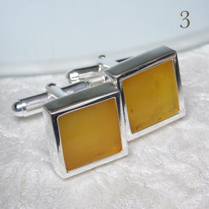 Amber Sterling Silver Cufflinks - mens