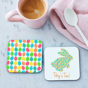 Personalised Easter Bunny Coasters Pair With Chocolates - placemats & coasters