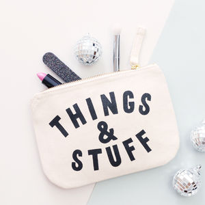 'Things And Stuff' Little Canvas Pouch - new in health & beauty