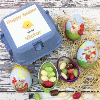 Personalised Blue Egg Box Easter Egg Tins With Eggs