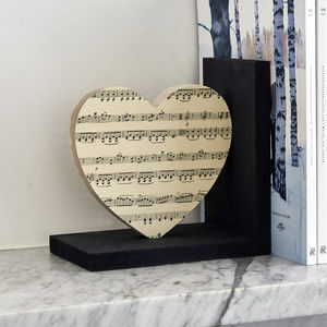 Music Lovers Heart Bookend Gift - decorative accessories