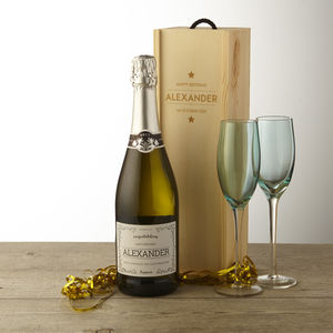 Personalised Prosecco With Wooden Gift Box Birthday