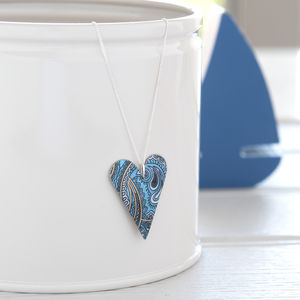 Blue Paisley And Floral Pattern Heart Pendant Necklace