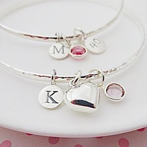 Birthstone Silver Bangle - bracelets & bangles