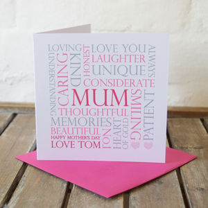 Personalised Mum Mother's Day Word Card
