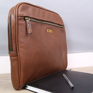 Personalised Vintage Tan Laptop And Document Case - tech accessories for him