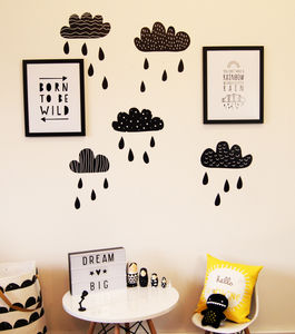 Monochrome Cloud Wall Stickers - decorative accessories