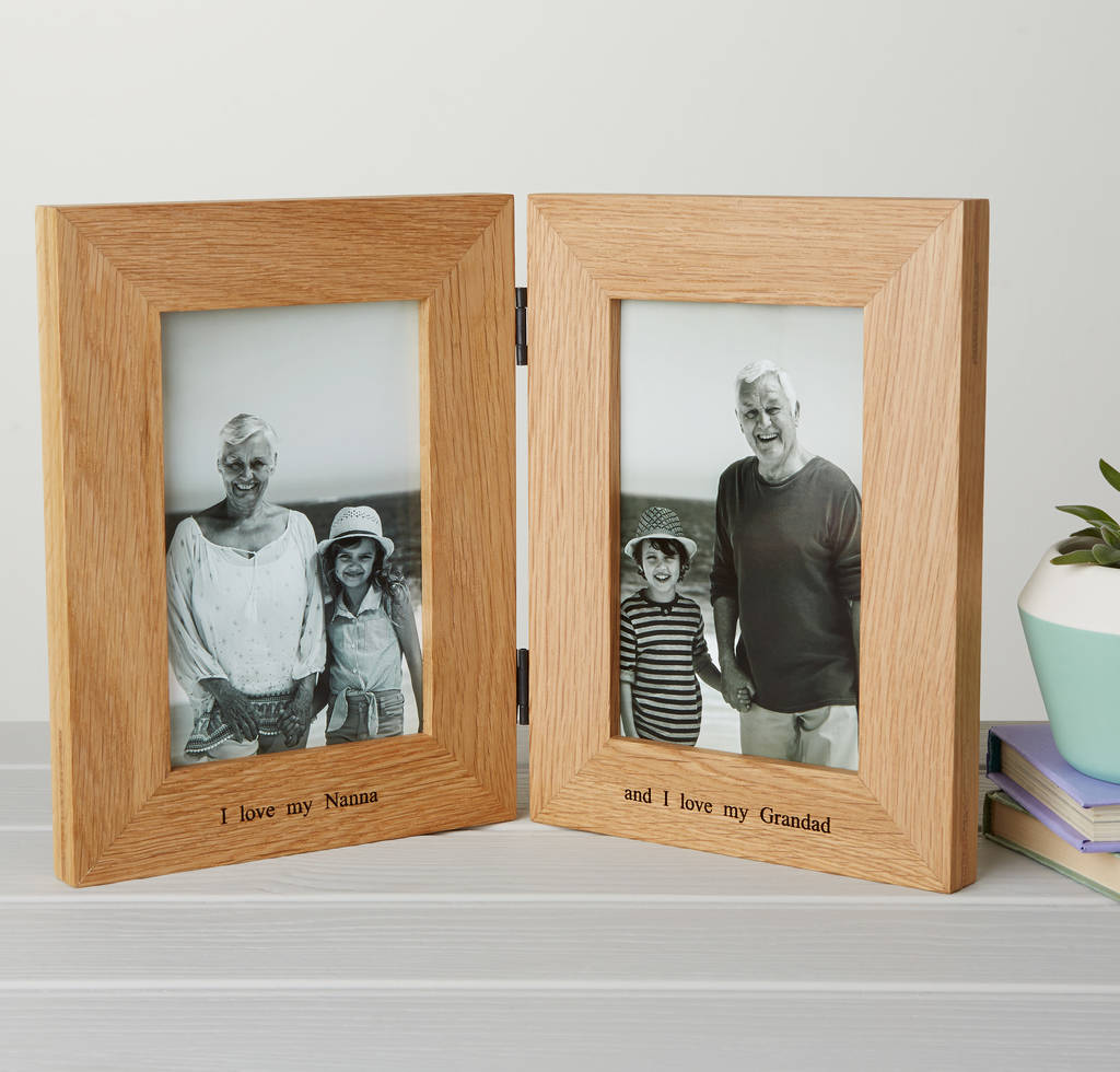 Personalised Solid Oak Double Photo Frame