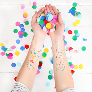 Colourful Confetti Temporary Tattoos