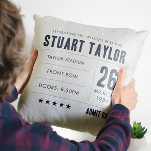 Personalised 'World's Best Dad' Gig Ticket Cushion Gift - new in home