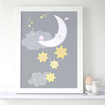 Personalised Baby Girl 'Moon And Stars' Print